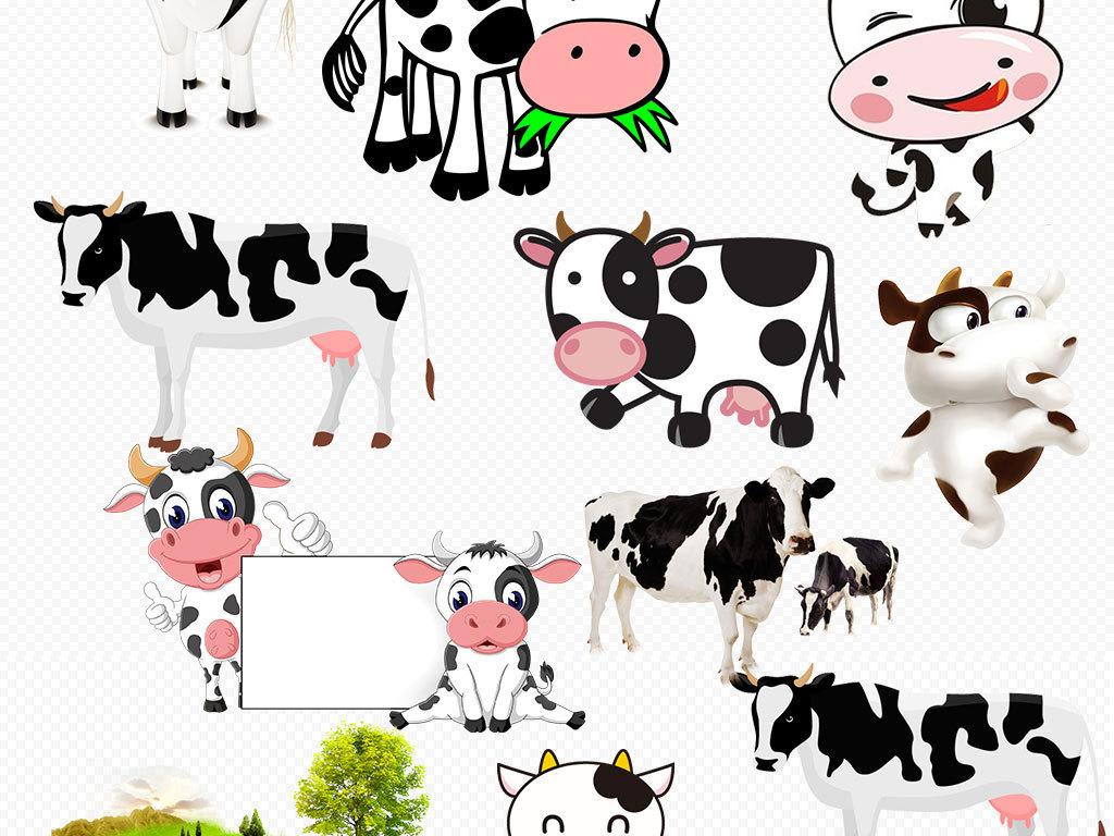 卡通可爱小奶牛手绘奶牛图片免扣png图片下载png素材