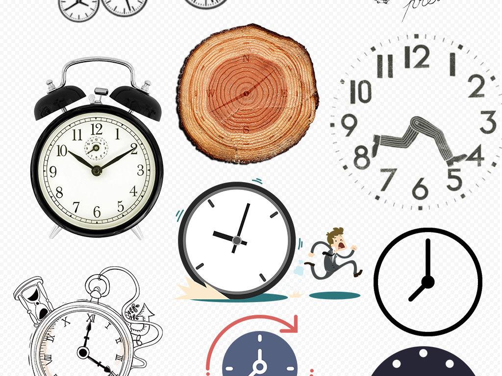 高清手绘时钟闹钟钟表png素材