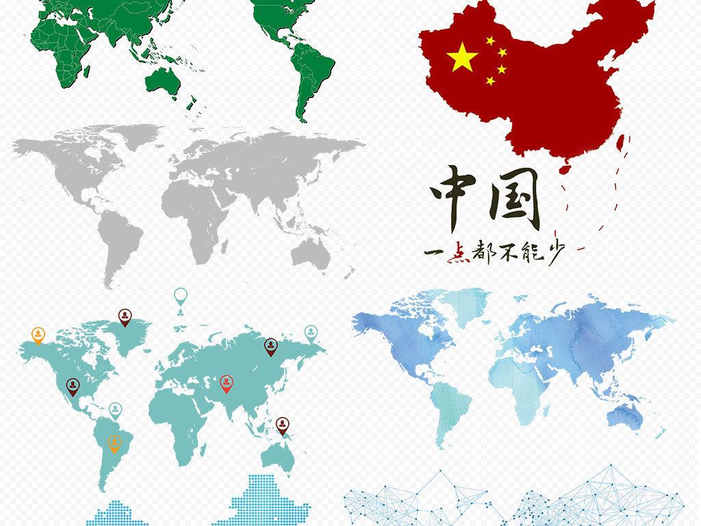 手绘矢量中国地图世界地图科技地图背景