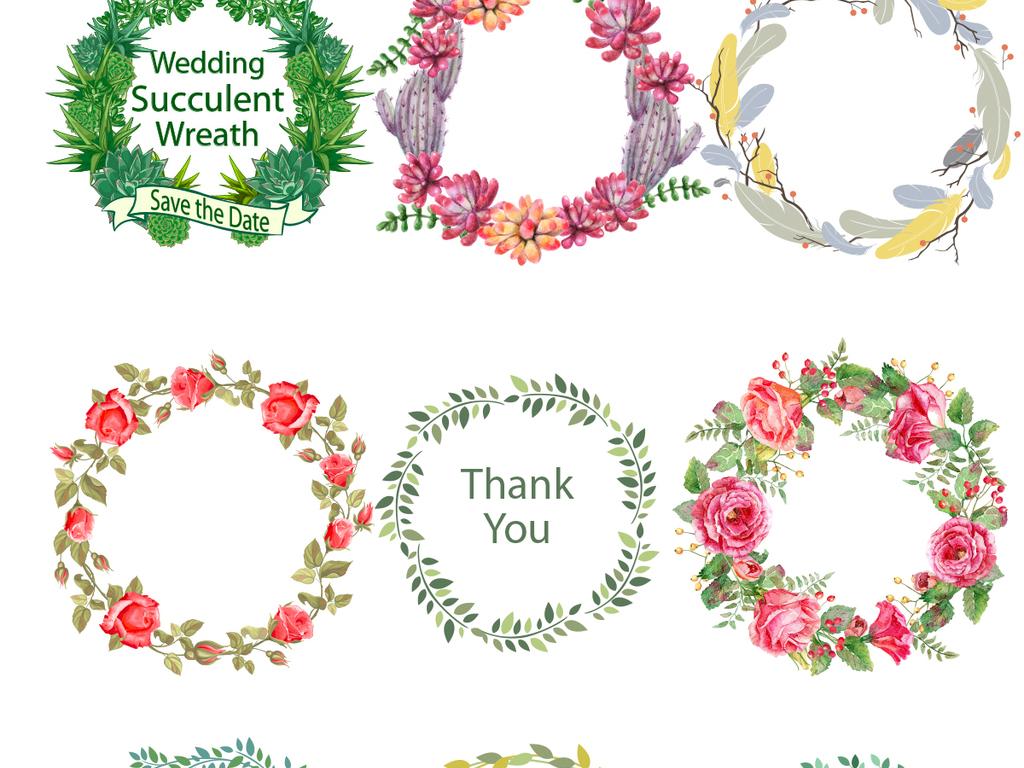 设计元素 其他 中国风素材 > 手绘小清新婚礼花环花边花纹png高清素材