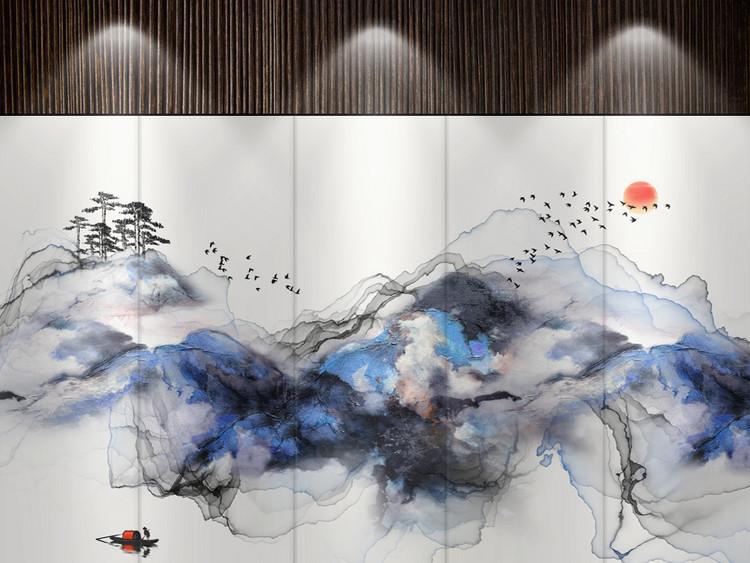 新中式抽象水墨山水艺术油画背景条屏装饰画