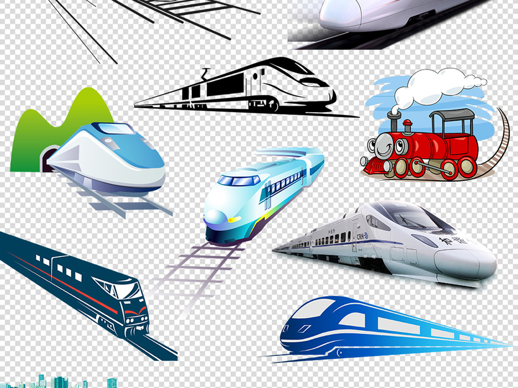 标志剪影小火车火车简笔画中国高铁高铁车站卡通火车素材火车高铁元素