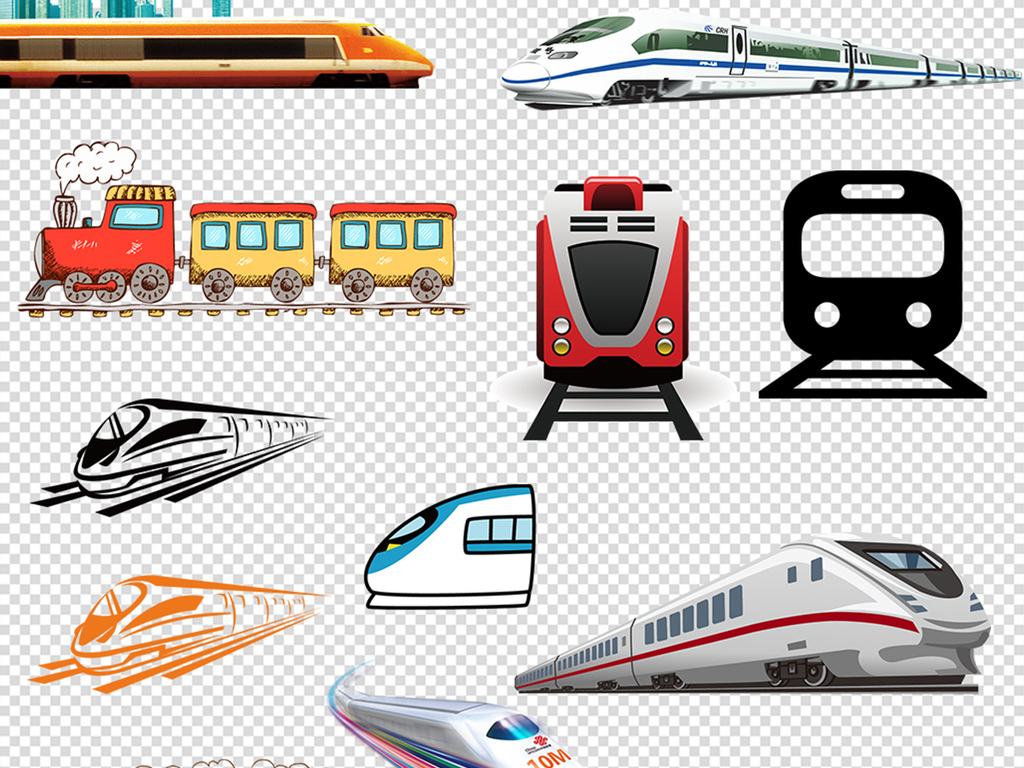 65款火车动车高铁列车元素png素材下载,作品模板源文件可以编