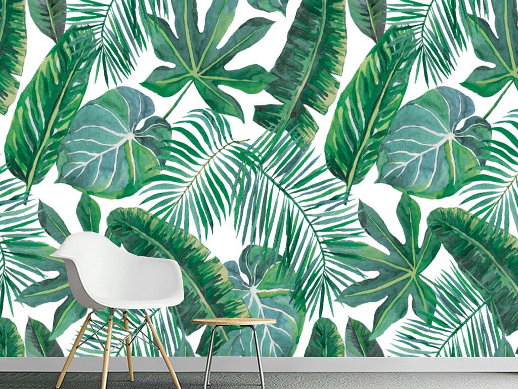 背景墙|装饰画 电视背景墙 手绘电视背景墙 > 欧式手绘热带雨林芭蕉叶
