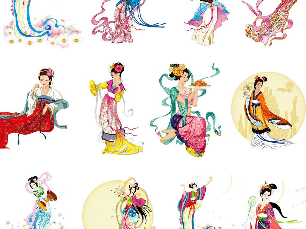 卡通人物八月十五月亮织女中国传统节日素材素材月饼中国中秋月饼月饼