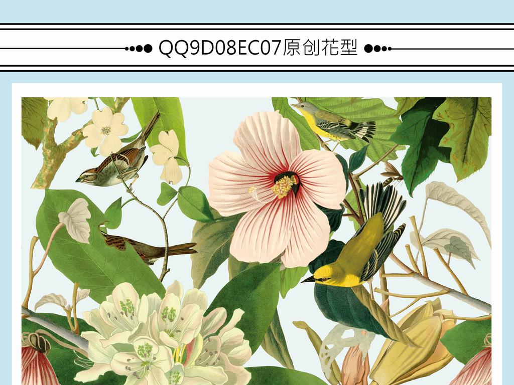 手绘花鸟植物花型