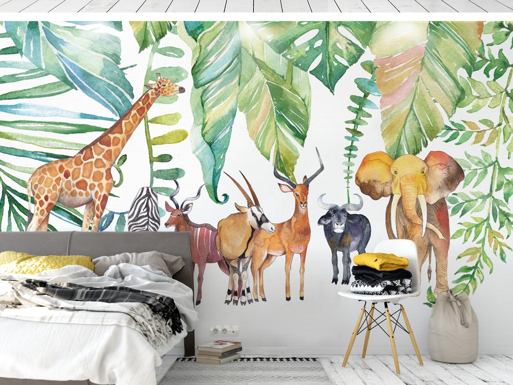 北欧风水彩手绘热带植物非洲动物背景墙壁纸壁画