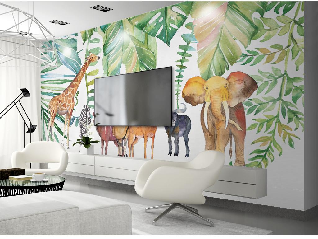 北欧风水彩手绘热带植物非洲动物背景墙壁纸壁画图片