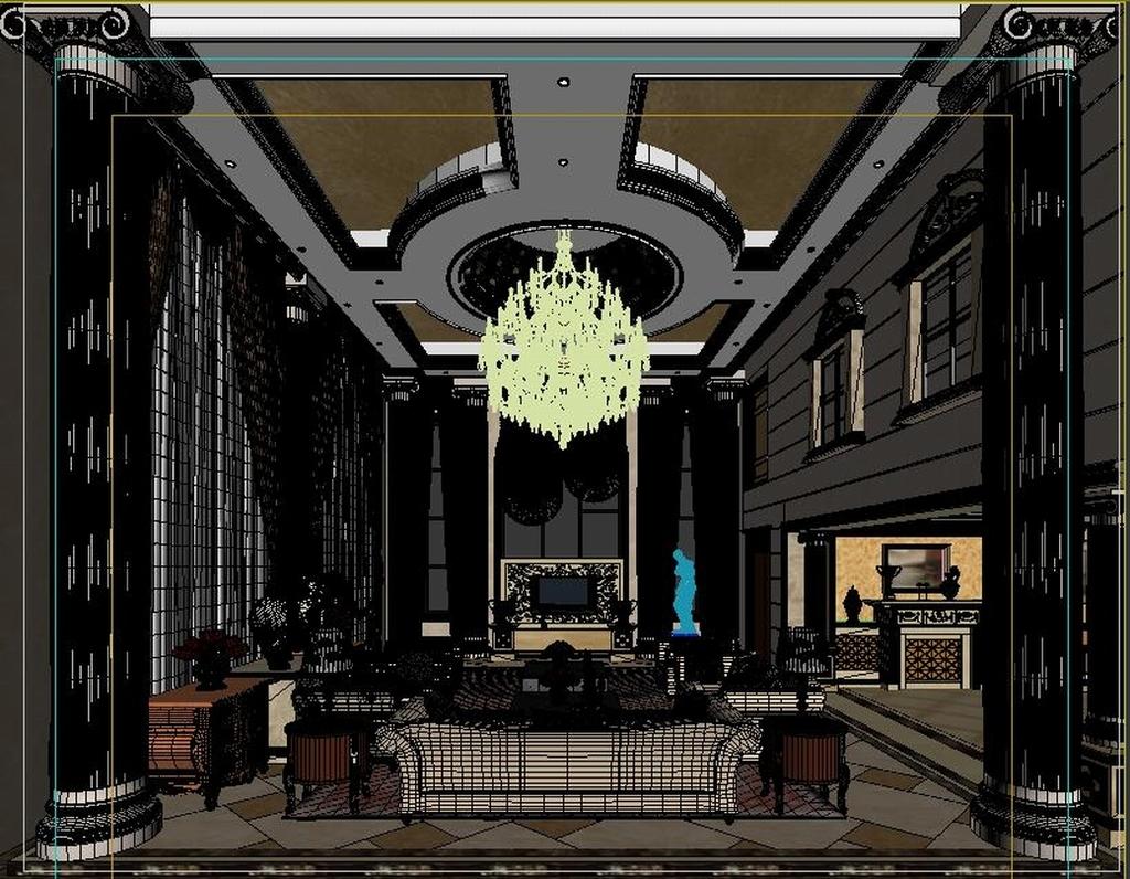 作品模板源文件可以编辑替换,设计作品简介: 豪华复式欧式客厅1779