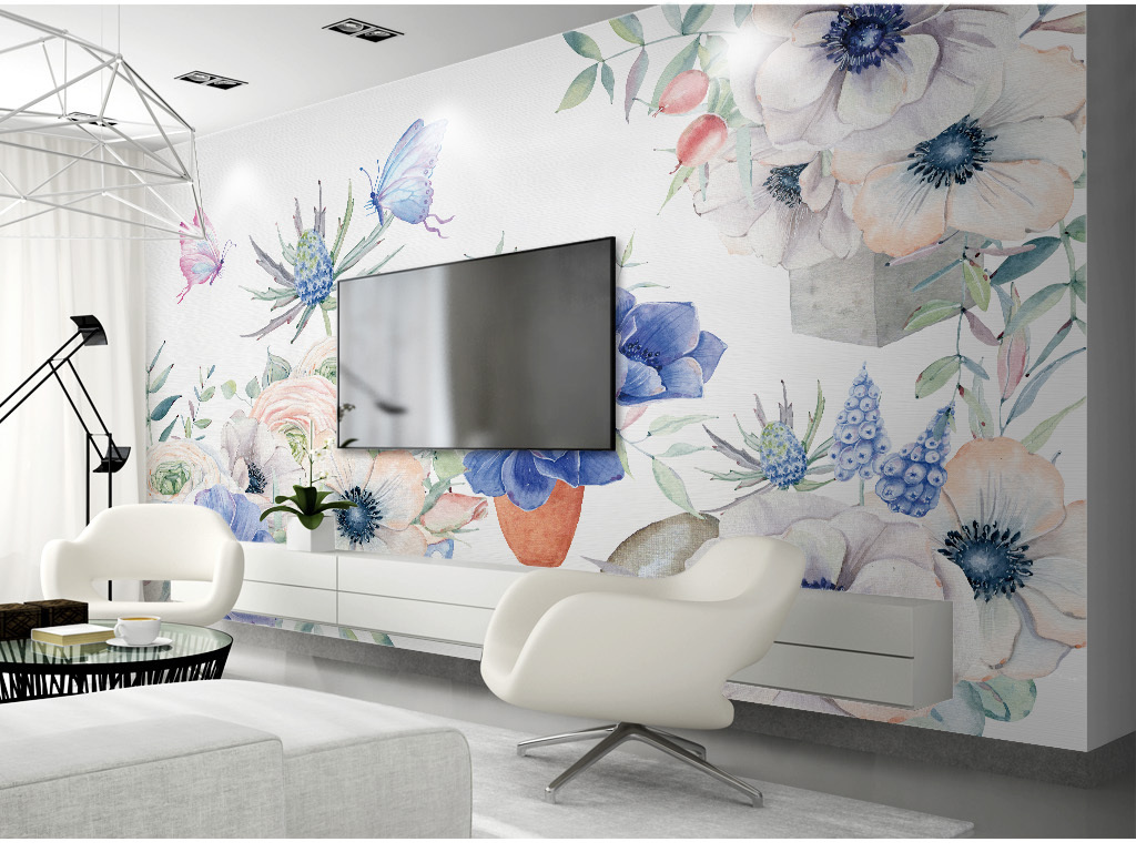 日系小清新文艺手绘水彩花朵背景壁纸壁画