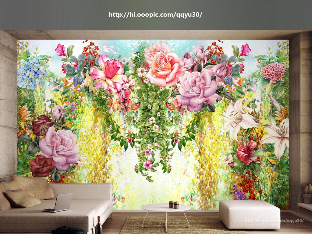 梦幻花园花朵绿藤手绘背景墙