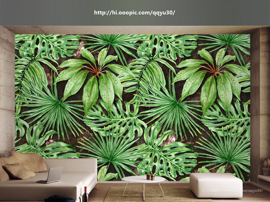 北欧热带植物绿叶手绘背景墙