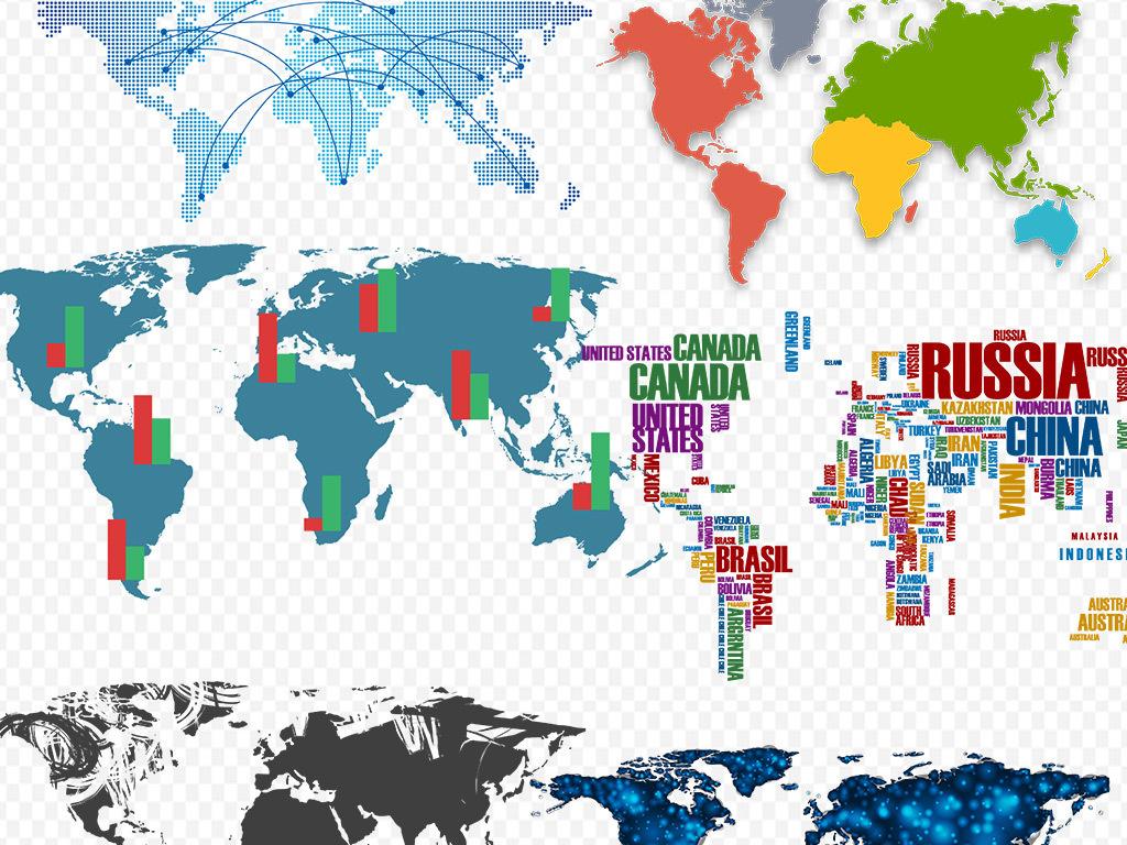 40多款免抠图中国地图世界地图png素材