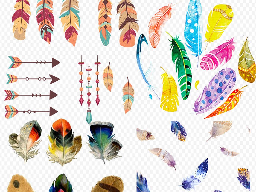 羽毛笔羽毛素材手绘素材免抠素材素材手绘多彩羽毛素材羽毛图素材羽毛