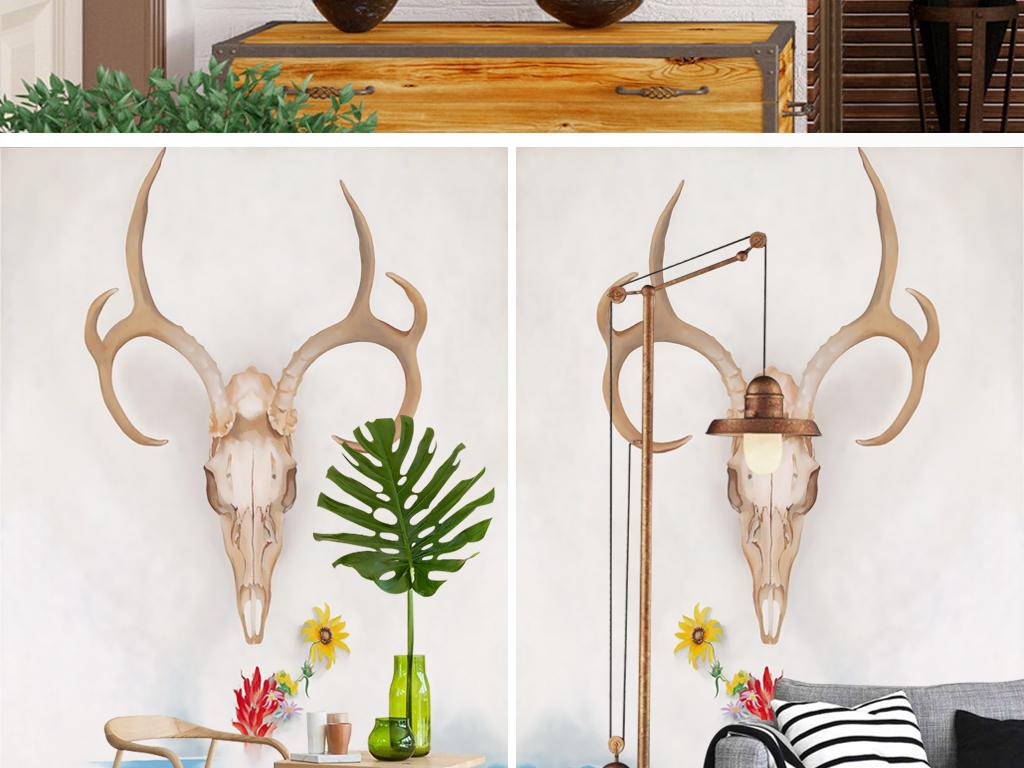 现代时尚个性手绘鹿头谷麋鹿壁画玄关背景墙