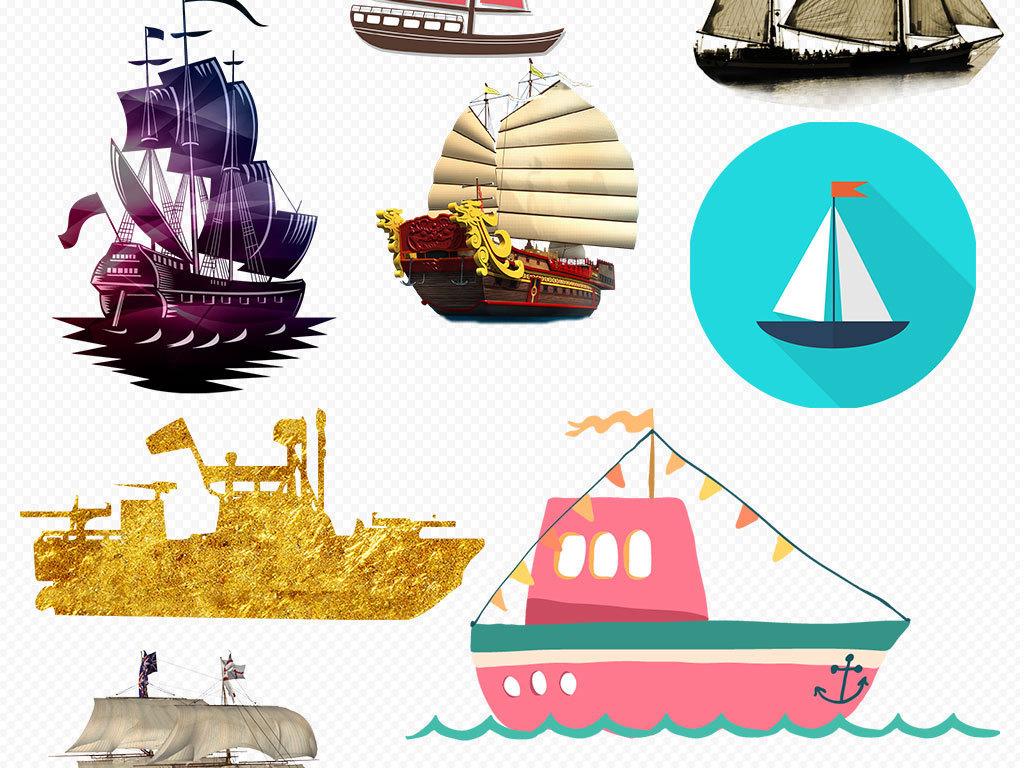 船划船手绘船交通工具船游轮素材黑色小船唯美小船中国风小船水乡扬帆
