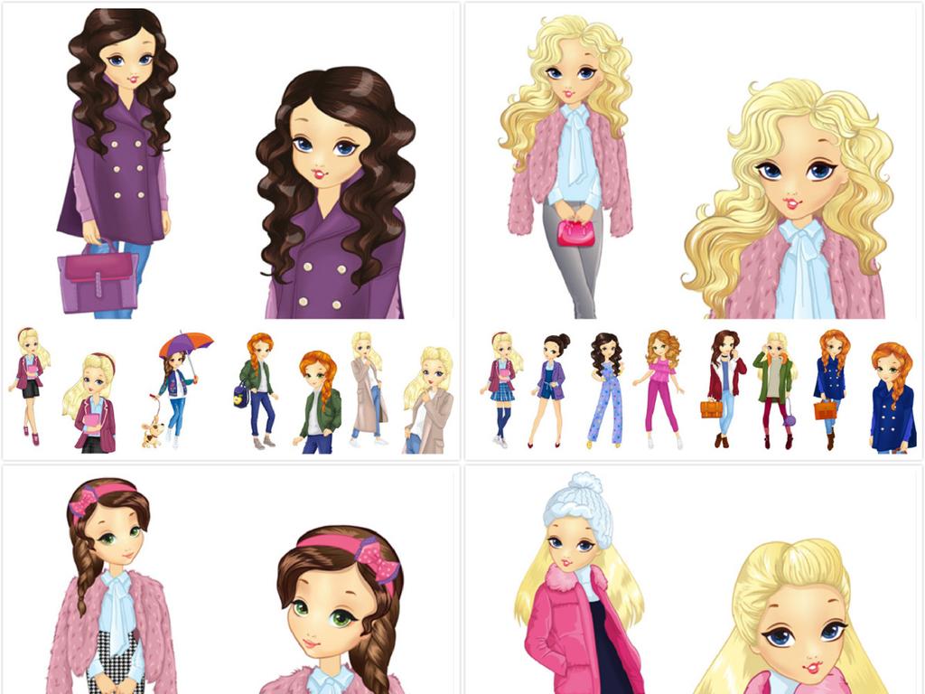 卡通女孩头像全身像肖像服饰服装潮流时尚