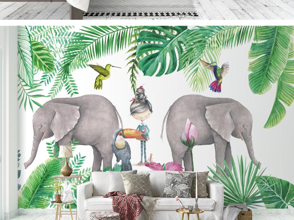 热带雨林植物大象花鸟背景墙壁纸壁画