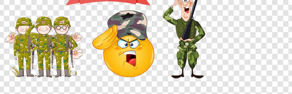 卡通手绘军人png海报素材