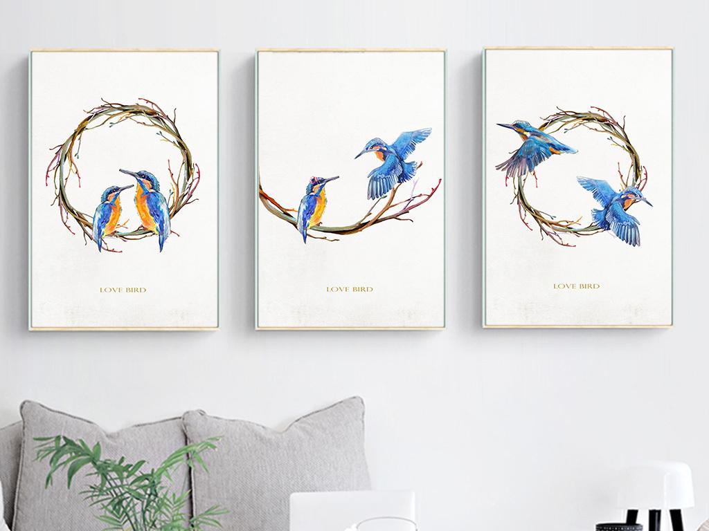 装饰画 北欧装饰画 动物装饰画 > 北欧简约手绘爱情鸟无框装饰画