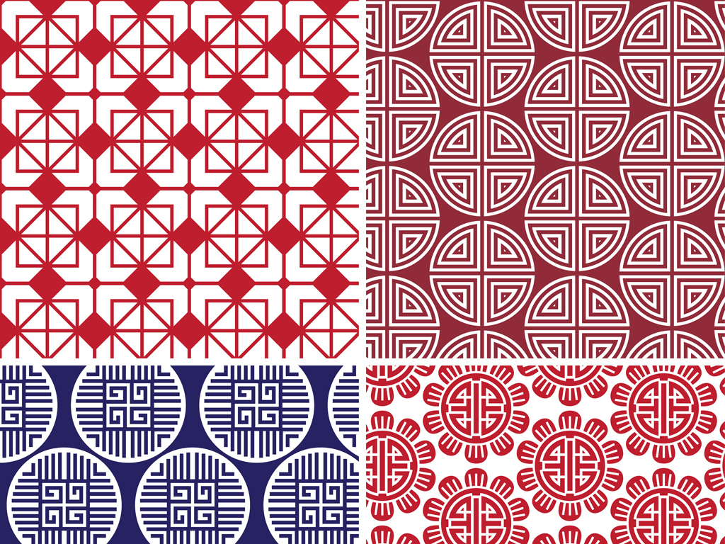 喜庆中国风图案古典中国图案吉祥元宝图案唐装红色元宝花纹 矢量图
