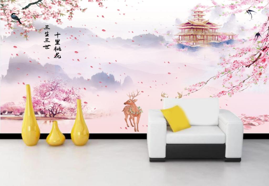 十里桃花电视沙发背景墙                                  手绘桃花