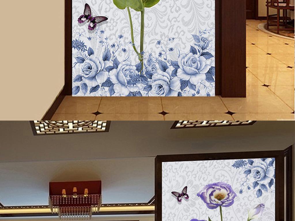 古风手绘浪漫蝶恋花客厅玄关屏风背景墙