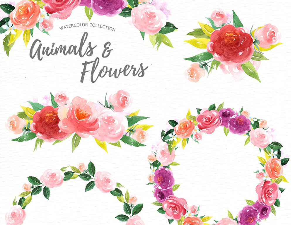 森系手绘水彩小动物png设计素材