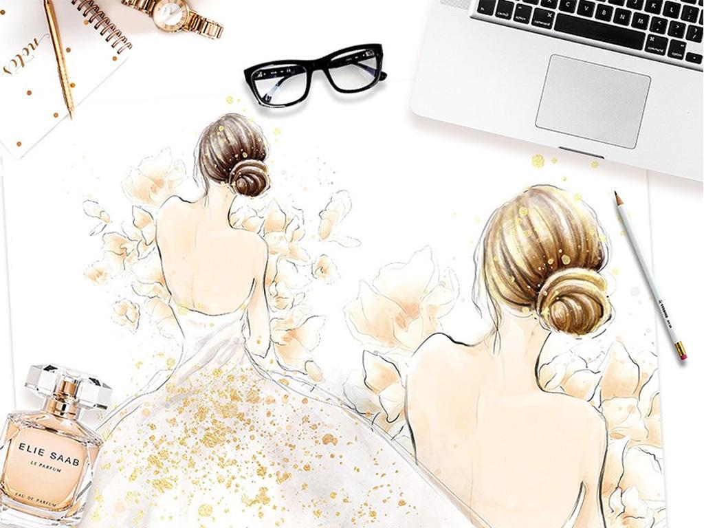 欧美手绘水彩时尚新娘新郎婚礼婚纱png