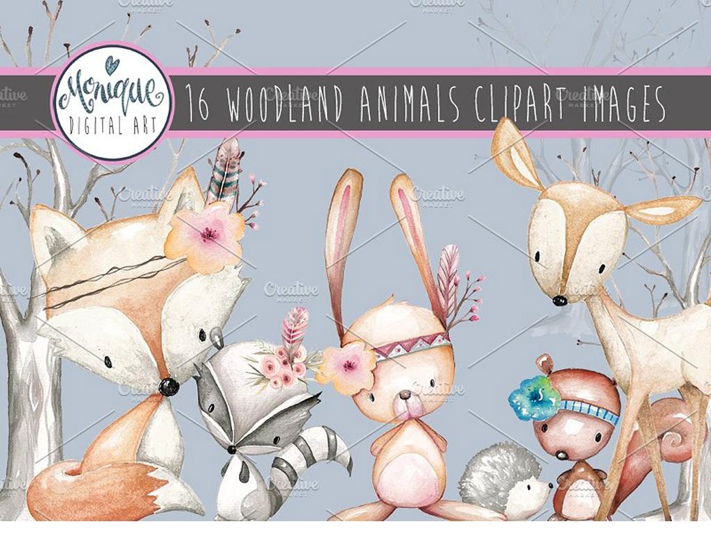 高清狐狸兔子小鹿手绘水彩动物png素材