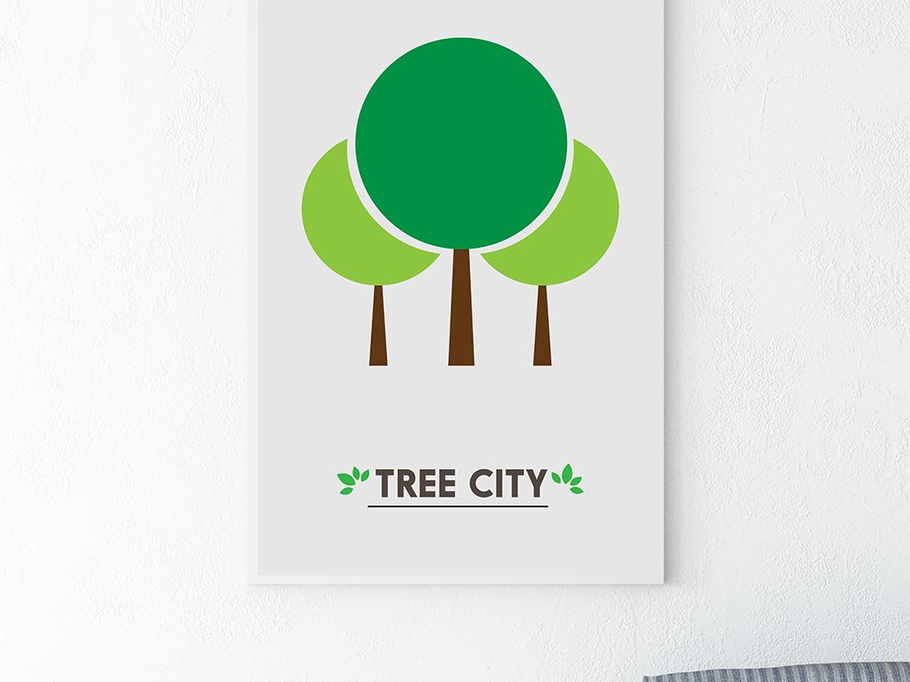 小清新手绘树叶小树客厅餐厅装饰画无框画