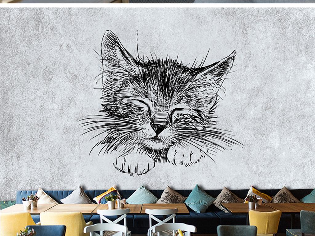 手绘猫咪背景墙