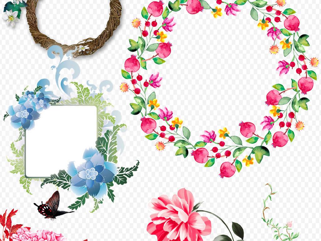 花边框素材鲜花粉色手绘花水彩花朵梦幻花玫瑰花环