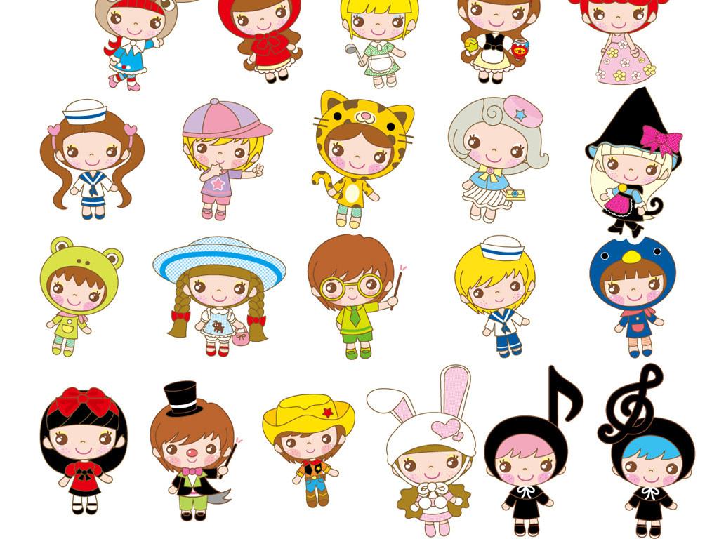 卡通娃娃宝宝幼儿童装服饰线描玩偶设计矢量素材