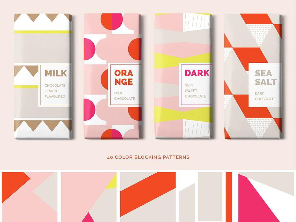 创意彩色色块抽象几何图形拼贴包装图案高清背景