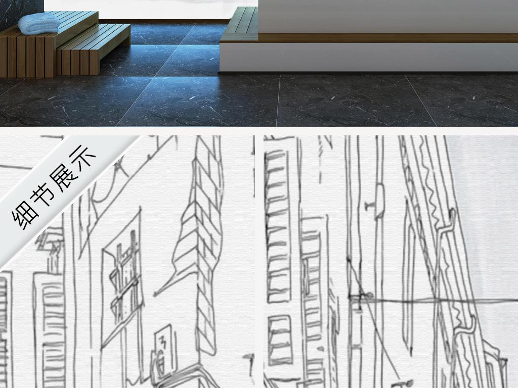 新中式手绘素描建筑城市街景背景墙图片