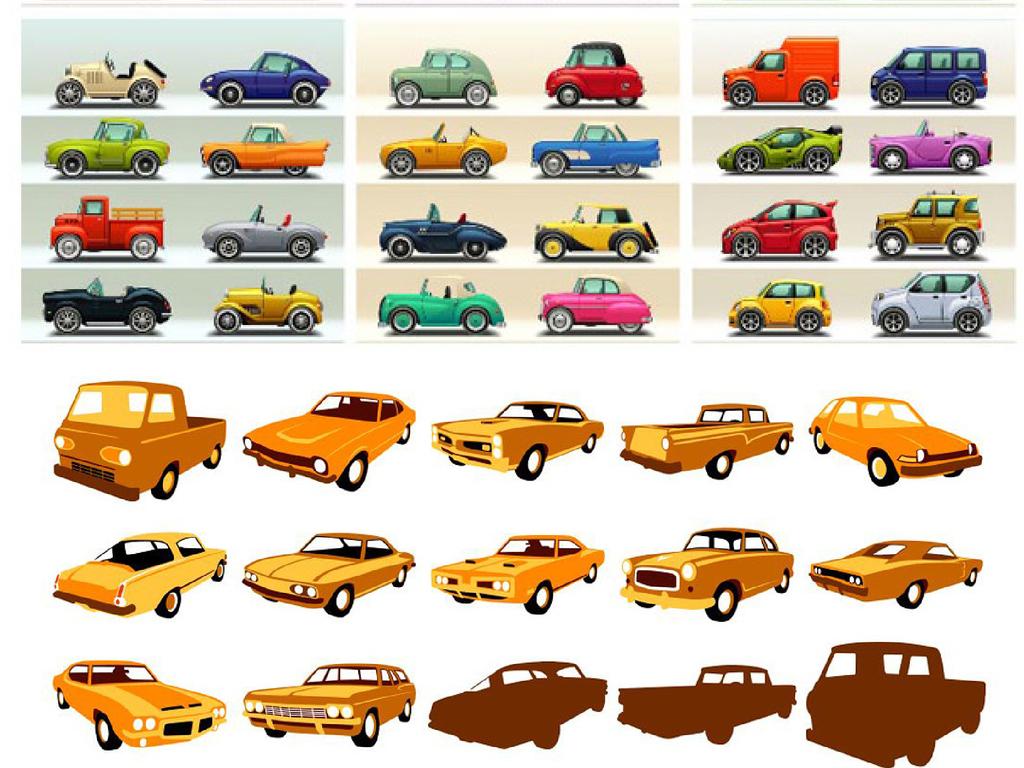 设计元素 科技素材 其他 > 手绘古董老爷车车模复古车旧车轿车交通