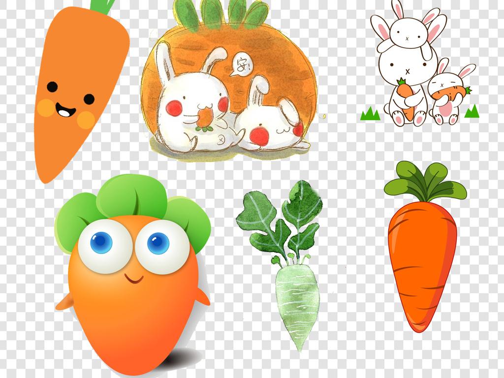 胡萝卜                                  蔬菜手绘龙猫卡通
