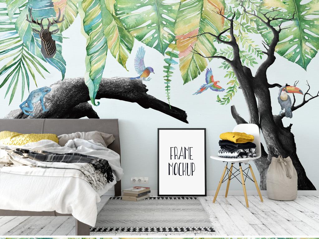 热带雨林植物枯树背景墙壁纸壁画