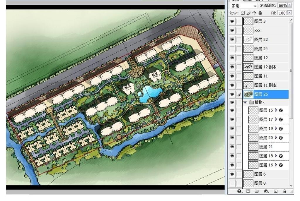 住宅小区景观规划PSD分层彩色平面图