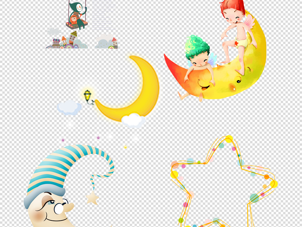 卡通星星月亮儿童海报素材