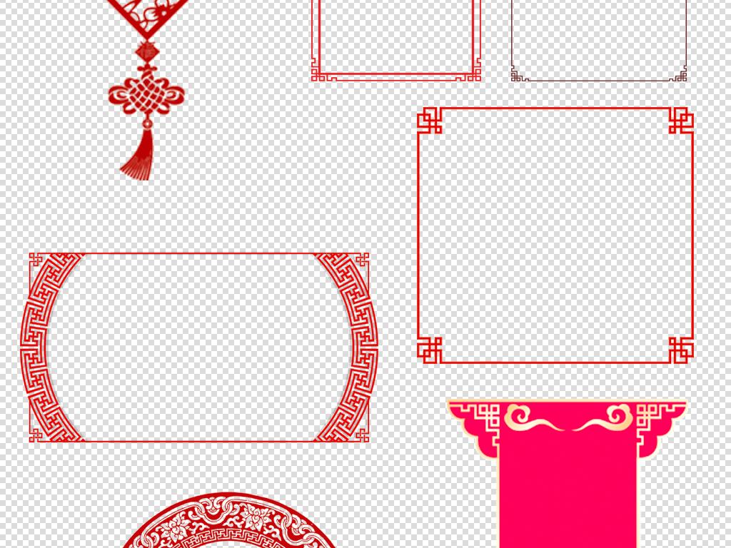 圆形古风边框素材手绘