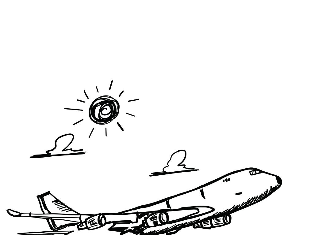 手绘黑白飞机卡通涂鸦素材