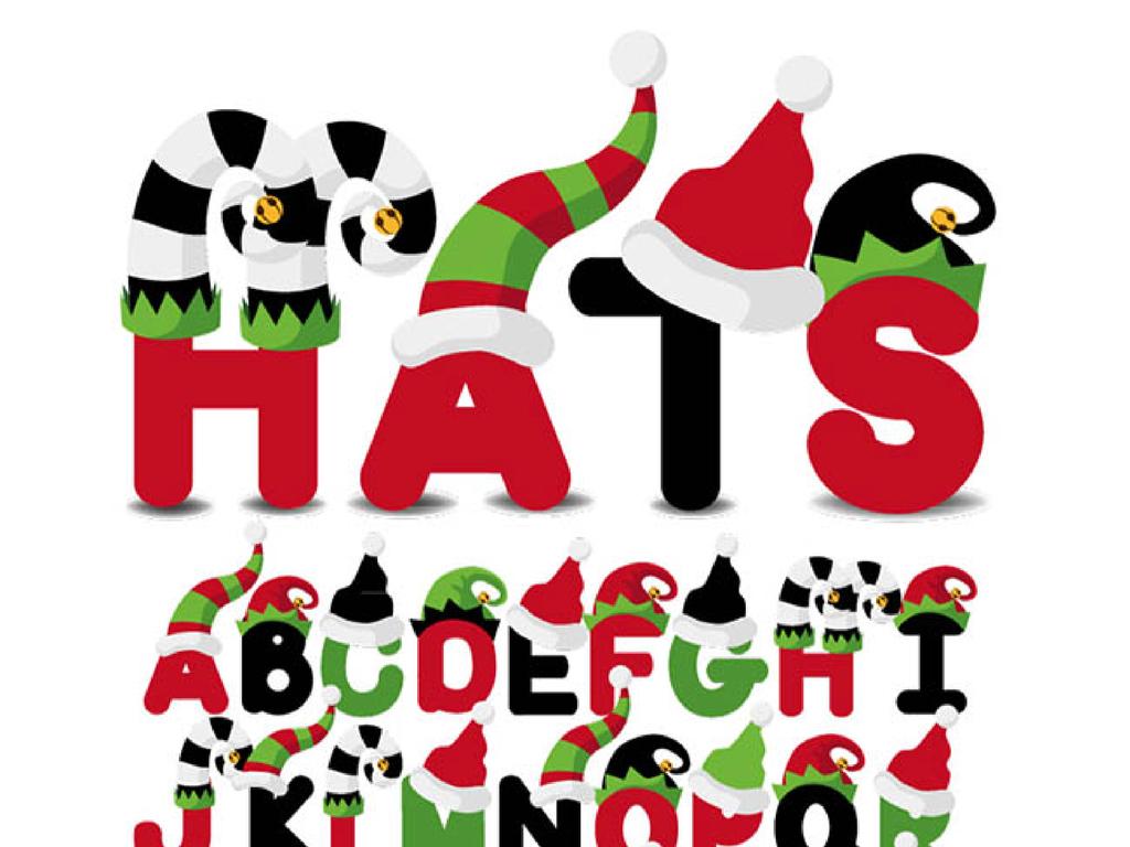 圣诞字体大写字母圣诞帽艺术字