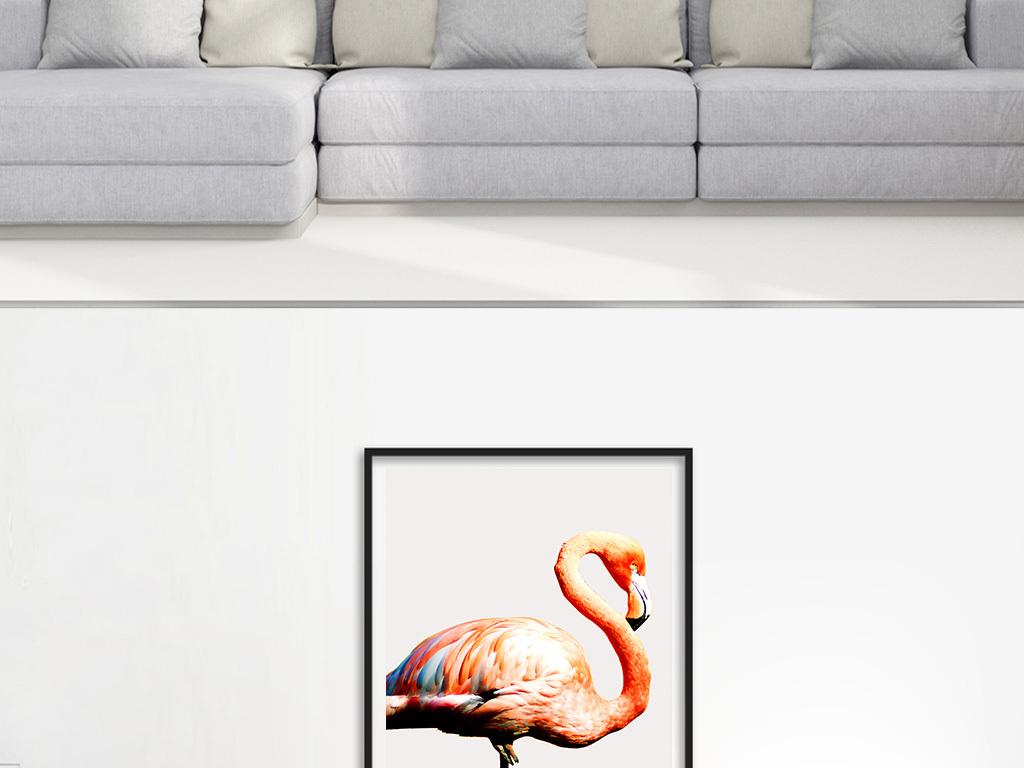 手绘简约北欧火烈鸟植物水彩画装饰画