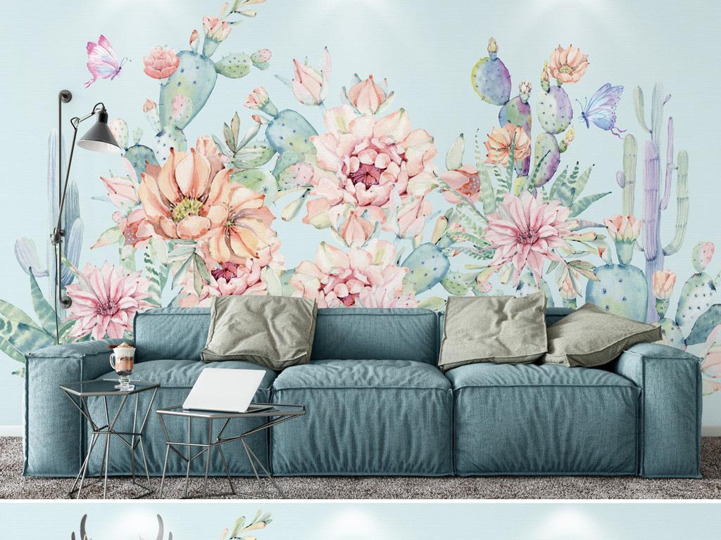 清爽唯美手绘仙人掌背景墙壁纸壁画