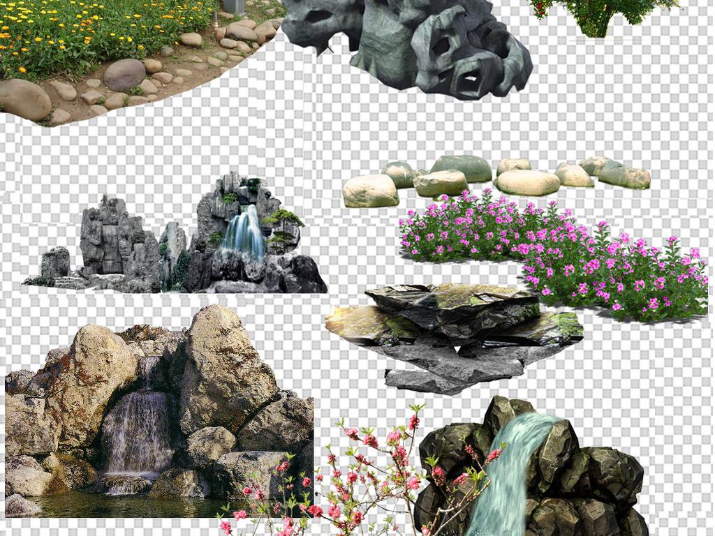 石头假山水景园林园林水景水景图建筑效果图假山模型假山SU模型3D瀑布
