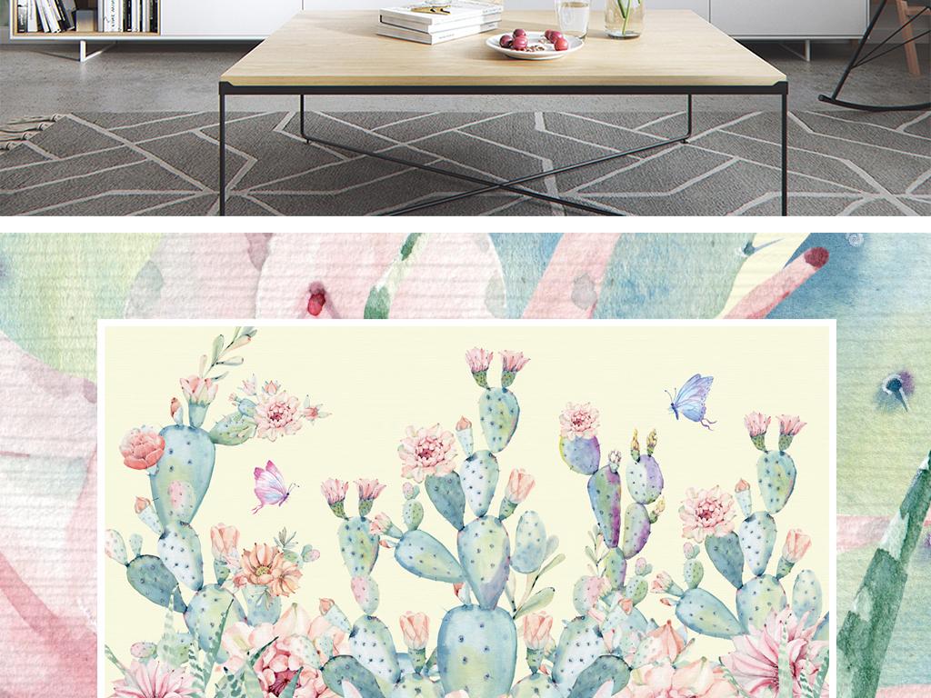 日韩唯美手绘仙人掌背景墙壁纸壁画