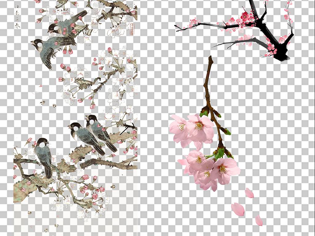 手绘铅笔画桃花林