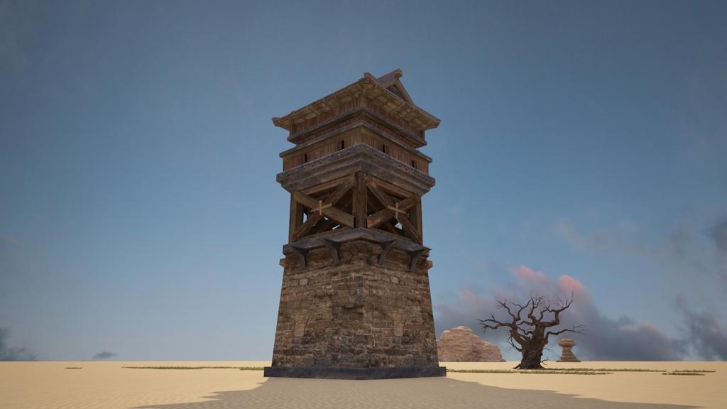 中国古建了望塔站岗塔3d模型